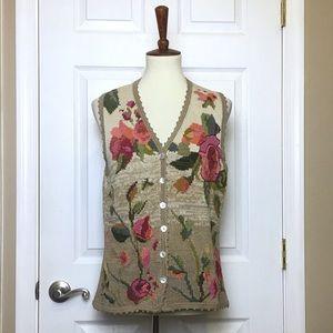 Peruvian Connection Hand Knit Floral Vest Size XL